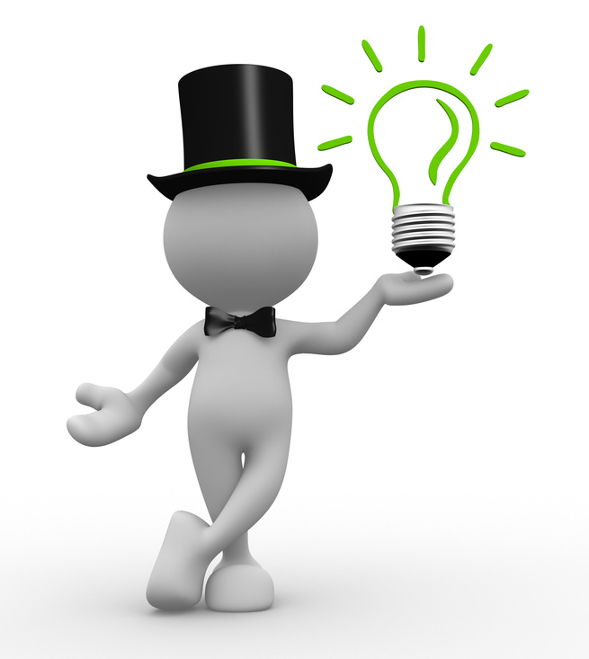 3d people - man, person with a light bulb. Energy efficiency